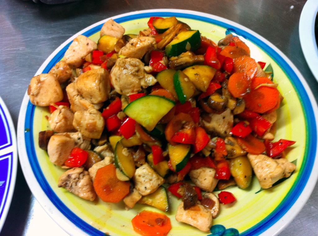 Жаренная куриная грудка с овощами